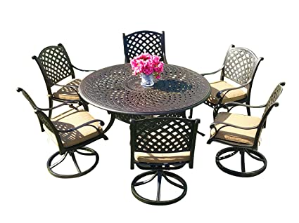 Tremendous Amazon Com Everhome Designs Nevada 7 Piece 60 Round Cast Gmtry Best Dining Table And Chair Ideas Images Gmtryco