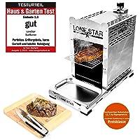 LoneStar Starburner2 Elektrogrill Edelstahl XL Silber Electro Grill 850 Grad Garten Balkon Camping ✔ eckig ✔ Grillen mit Gas ✔ für den Tisch