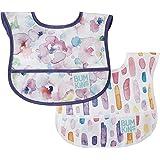 Bumkins Starter Bib, Baby Bib Infant, Waterproof, Washable, Stain and Odor Resistant, 3-9 Months, 2-Pack – Watercolors & Brus
