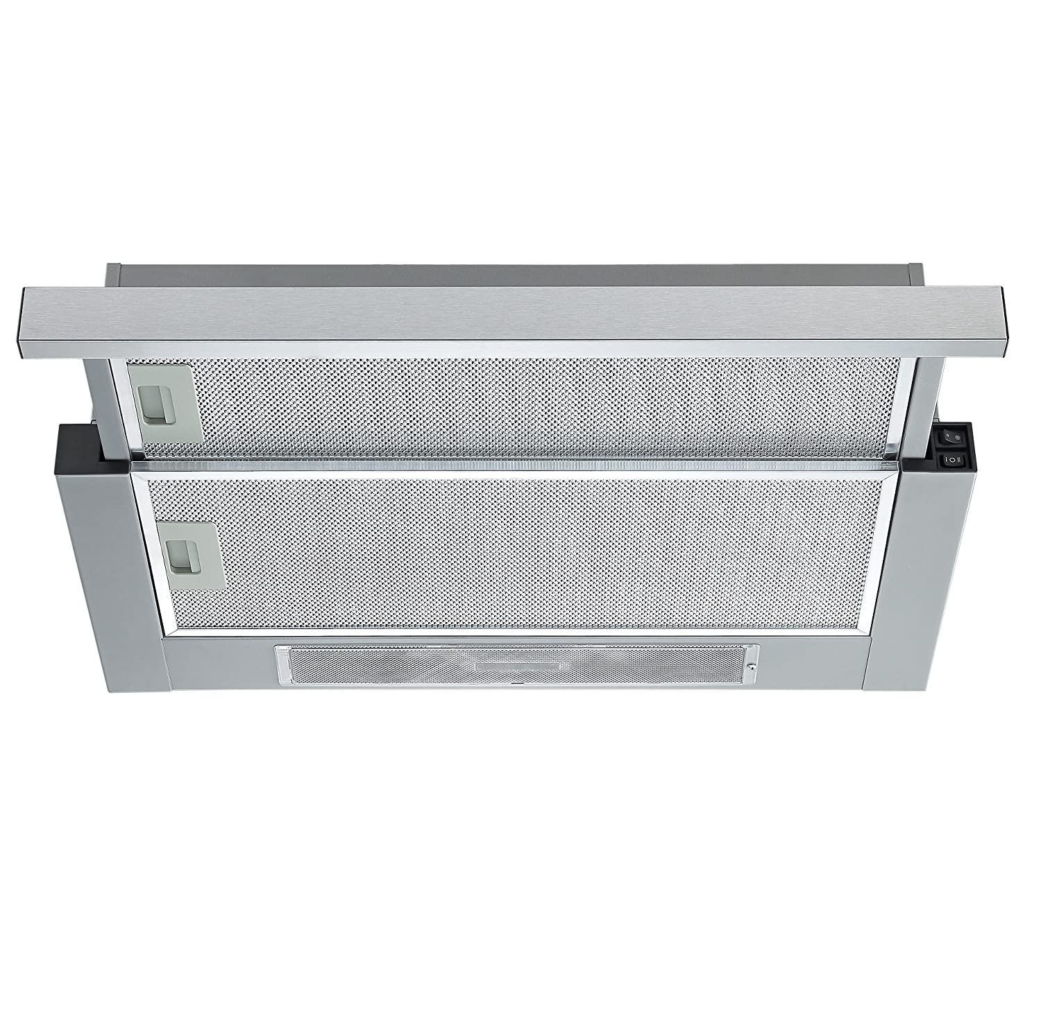 cookology integrated telescopic cooker hood tel600ss 60cm builtin extractor fan in stainless steel