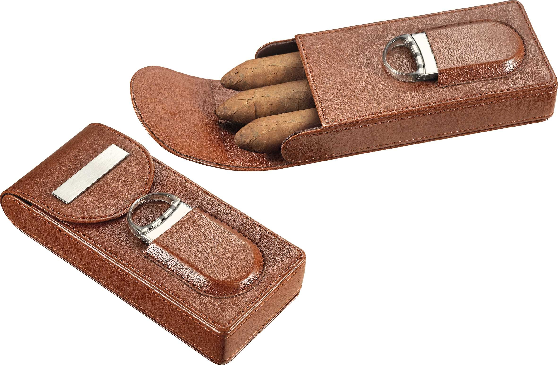 Personalized Leather Cigar Holder with Cutter, Free Engraving