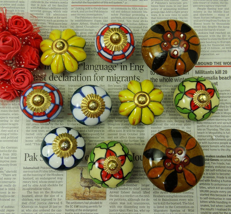 10 Pomos de Cer/ámica pintada a mano del gabinete caj/ón tire