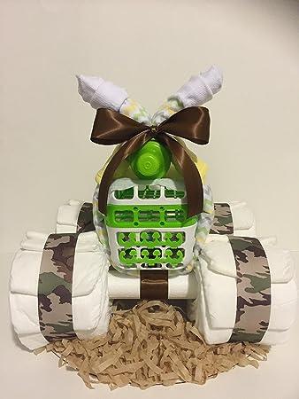 Amazon Baby Boy ATV 4 Wheeler Diaper Cake New Gift Shower Centerpiece Mommy And Basket