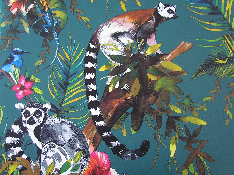 Handmade Lemur Gheko Tropical Flower Forest Green Drum Lampshade Ceiling Lightshade Choice of Colours