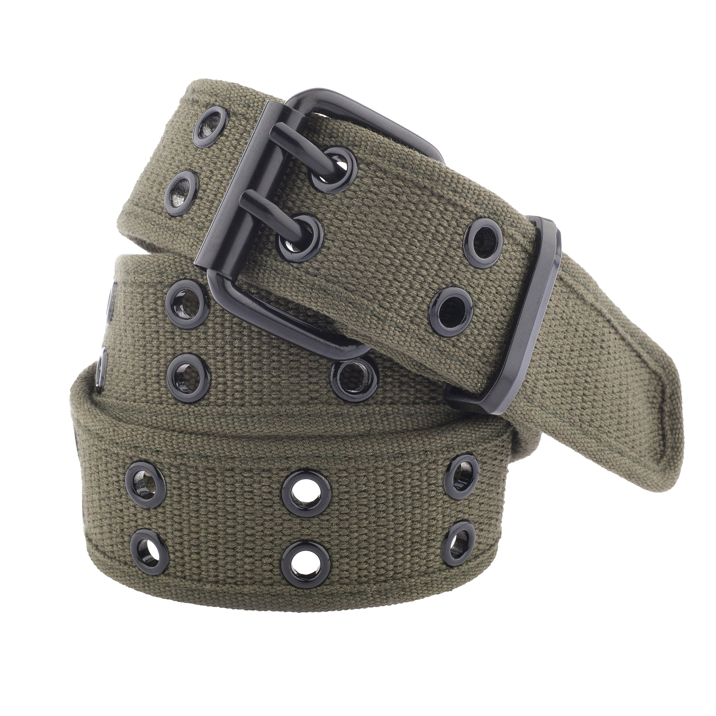 Unisex Two-Hole Canvas Belt - Available in 13 Colors (WB-211) (Large, Olive)