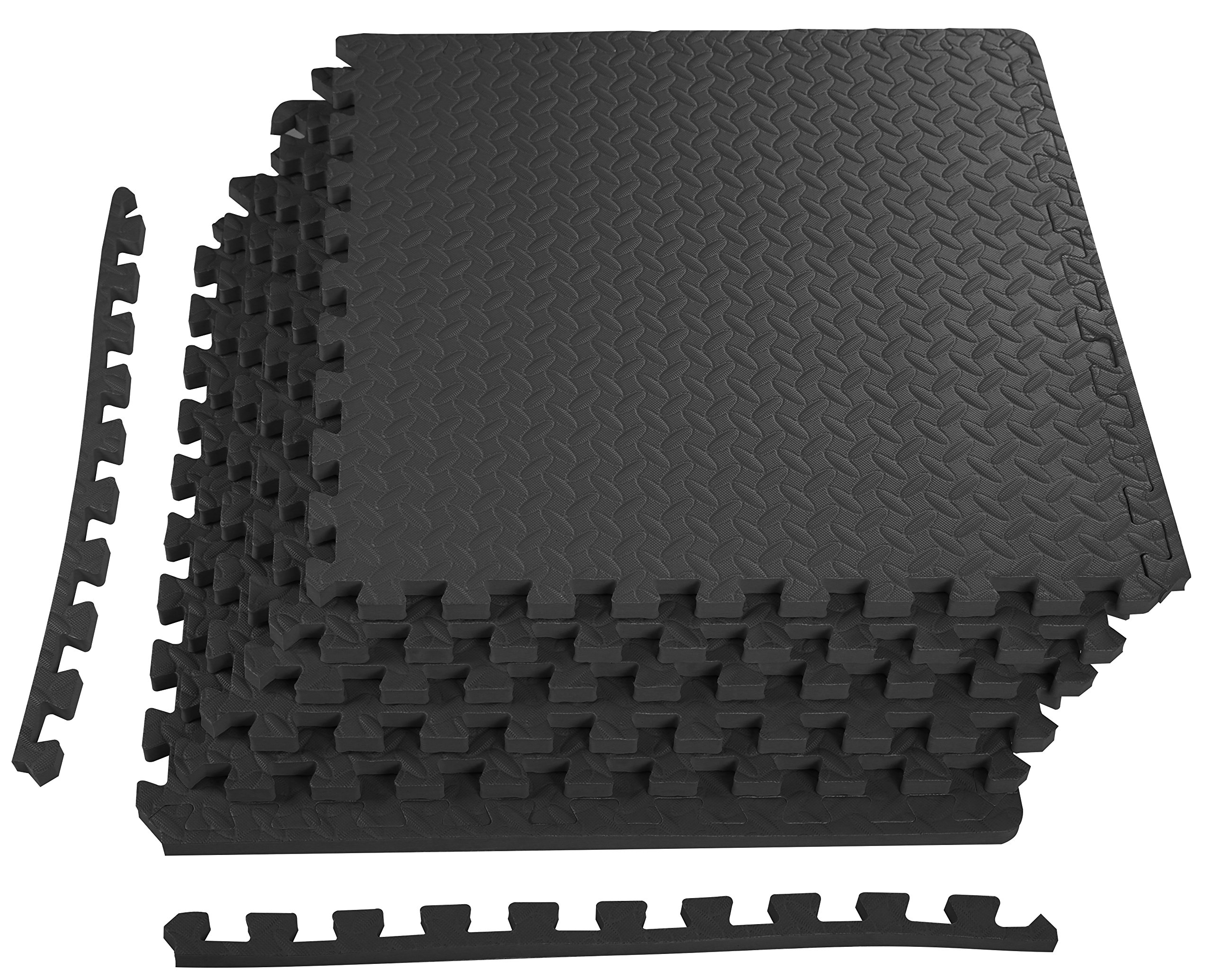 BalanceFrom Puzzle Exercise Mat with EVA Foam Interlocking Tiles (Black) by BalanceFrom