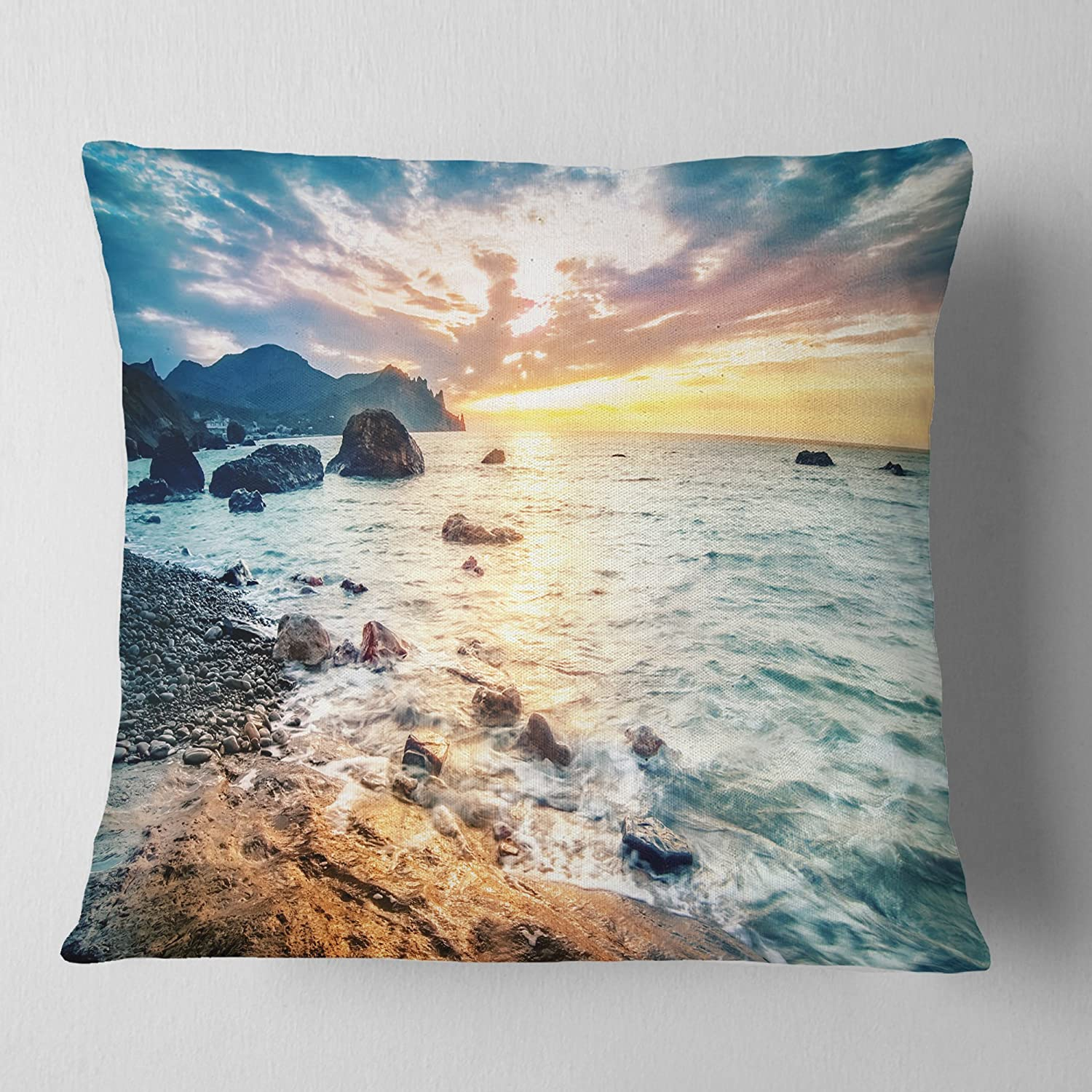 Designart CU10673-18-18 Summer Sea with Mountains and Waves' Seashore Cushion Cover for Living Room, Sofa Throw Pillow 18 in. x 18 in. in
