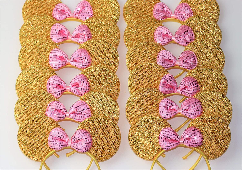 12 pcs Mickey Plush Minnie Mouse Ears Headbands Pink Bow Shiny Party Favors