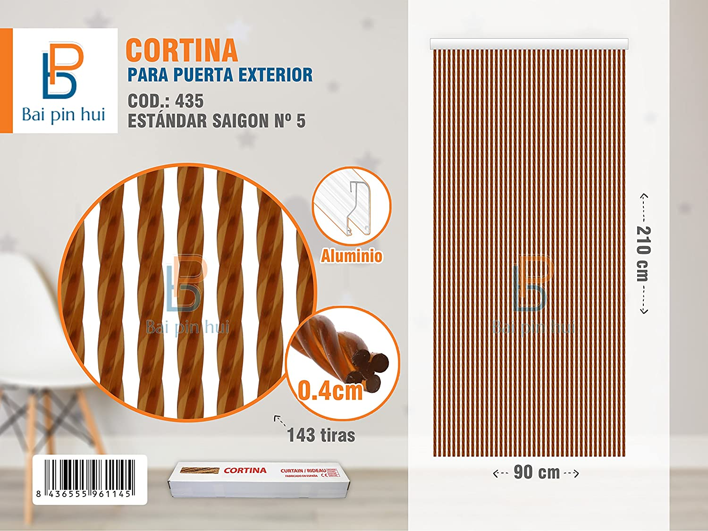 BAI PIN HUI (COD.435) Cortina para puerta exterior, Modelo SAIGON, 143 tiras, Color: MARRÓN, Materiales: plástico y aluminio, Tamaño: 90 x 210 cm