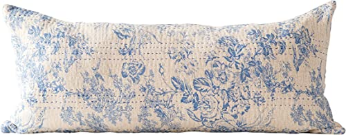 Creative Co-op Blue Cotton Chambray Pillow