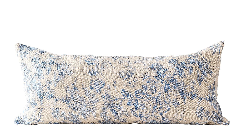 Creative Co-op Blue Cotton Chambray Pillow,