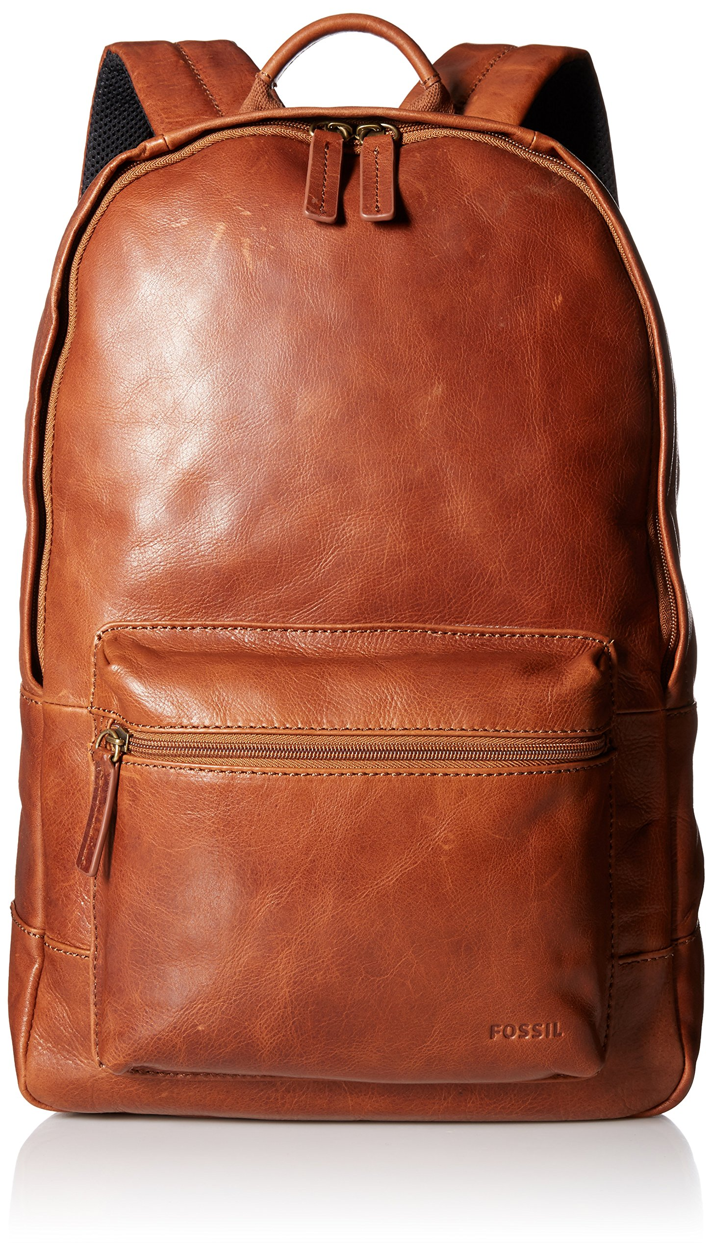 Fossil Men's Ledger Leather Backpack, Cognac, One Size