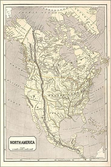 Amazon.com : 16x24 Poster; Map Of North America United States 1842 ...