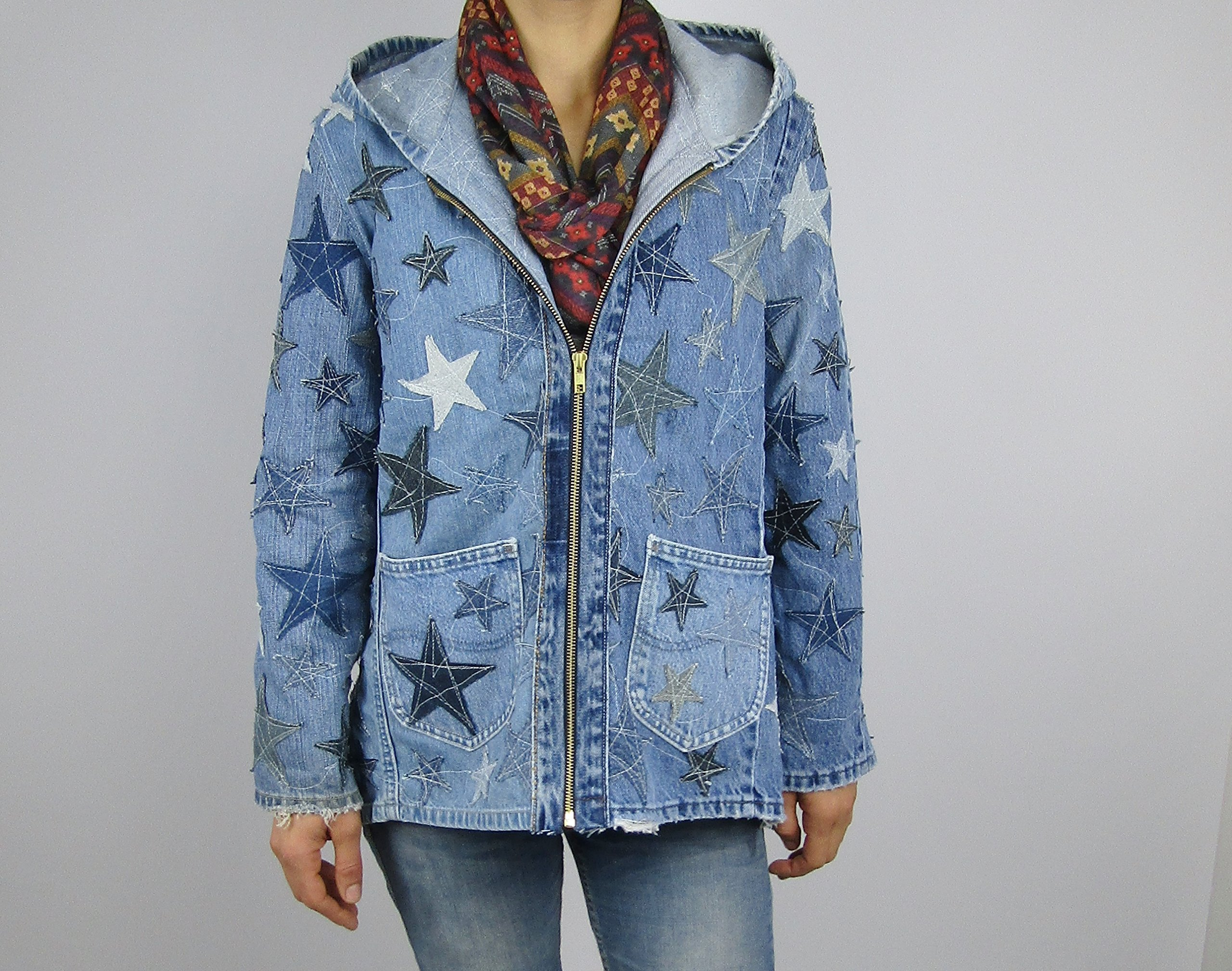 Hooded Denim Jacket Small with Star Applique