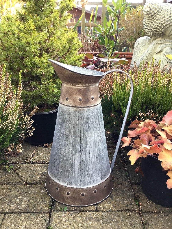 Extra Large Vintage Style Metal Jug Urn Garden Planter Flower Pot Vase Rustic AGI