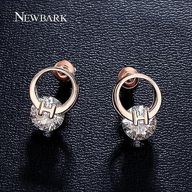 1eeef1f5c9c5 Amazon.com  GemMart Jewelry Cute H Design Double Circles Earrings2 ...