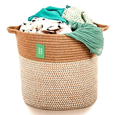 Extra Large Woven Jute Storage Baskets | 17  x 15  Decorative Blanket Basket, Use for Sofa Throws, Pillows, Towels, Toys | Cotton Rope Organizer | Coiled Round Brown Laundry Hamper with Handles