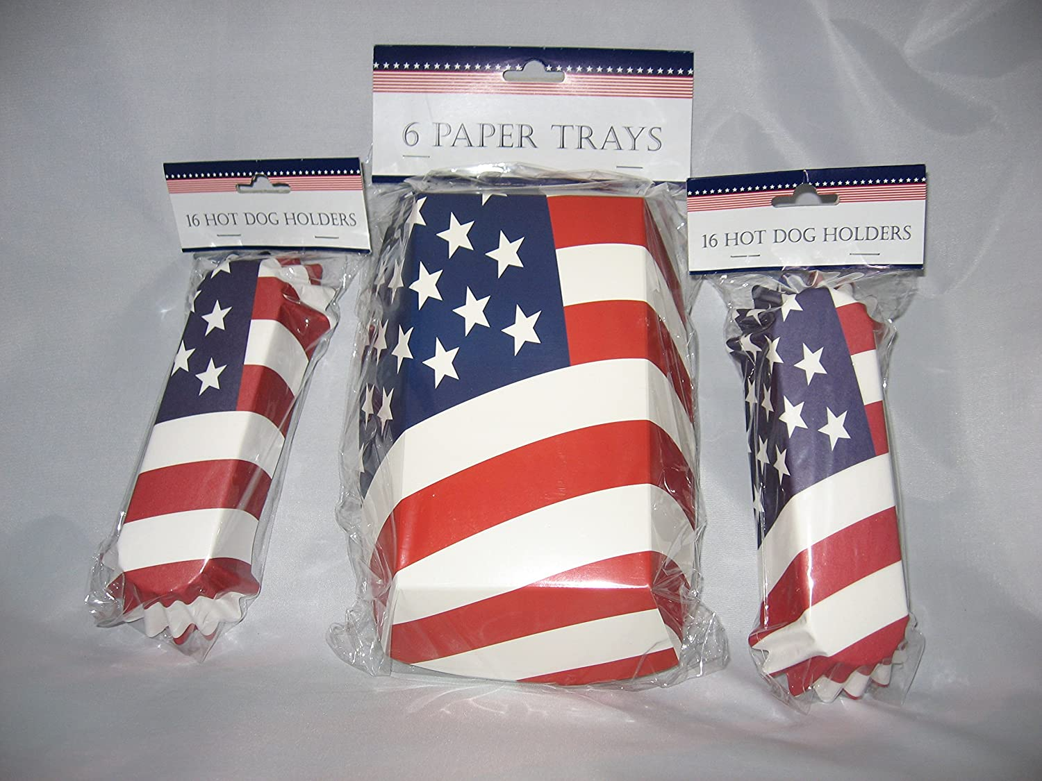 American Flag Paper Food Trays and Hot Dog Holders Bundle