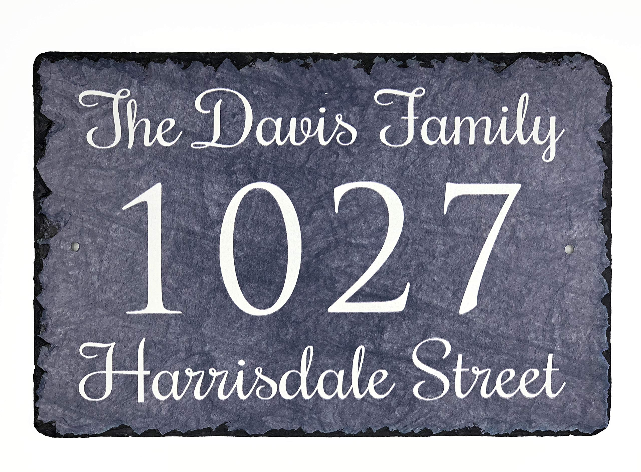 Sassy Squirrel Beautifully Handcrafted and Customizable Slate Home Address Plaque (12'' x 8 or 16''x10'') Personalized House Sign with and mounting Hardware. Improve The Curb Appeal of Your Property