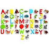 LEARN with FUN - Magnetic Letters and Animals Toys for Educational Fun - ✮SET OF 56✮ Colorful Pieces - Puzzle Alphabet - CHARACTERS MAGNETS for kids