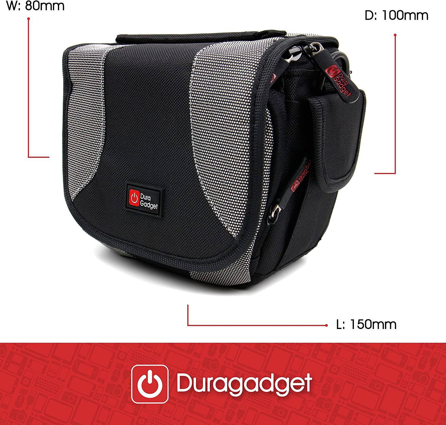 DURAGADGET Portable Carry Case w//Padded Interior /& Shoulder Strap Compatible with The Sony DSC-RX0