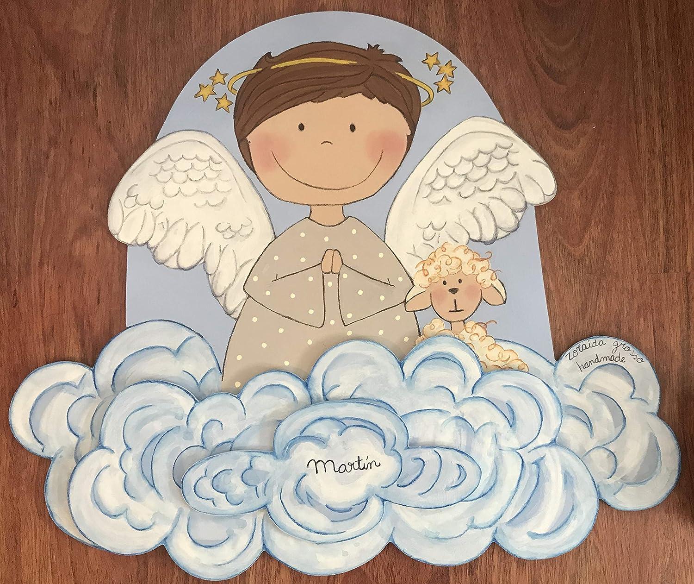 Silueta madera infantil,ángel rezando, regalo personalizado bebe, bautizo, regalo recién nacido original, decoración dormitorio niño niña, regalo infantil hecho a mano.