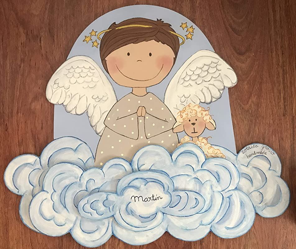 Silueta madera infantil,ángel rezando, regalo personalizado bebe, bautizo, regalo recién nacido original, decoración dormitorio niño niña, regalo ...