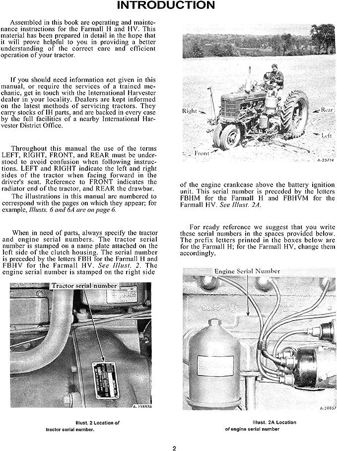 Amazon.com: Farmall H Hv Tractor Owners Operators Manual International  Mccormick: Home ImprovementAmazon.com