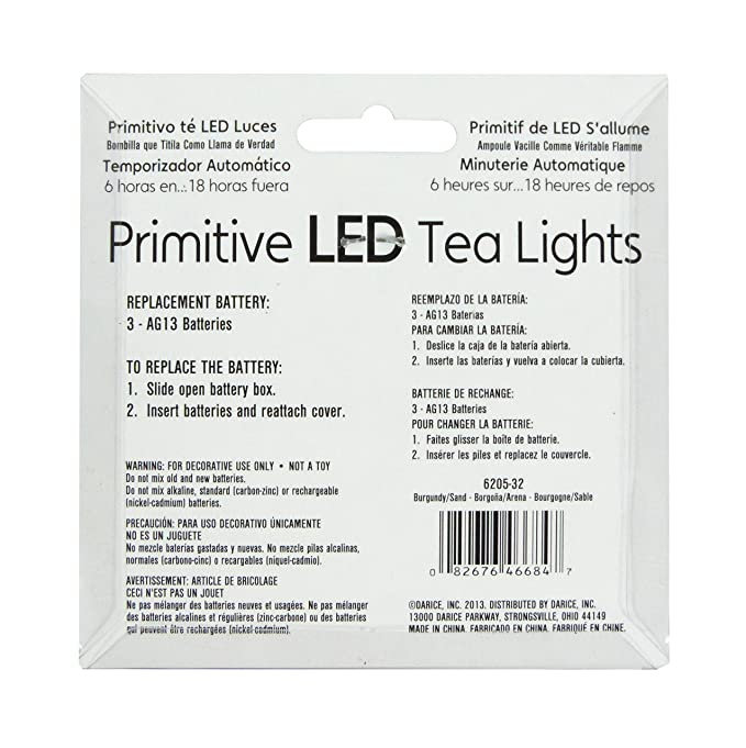 Amazon.com: Halloween Decor L E D Tea-lights WAX Dipped Burgundy Sand with Timer 2 Count: Home & Kitchen