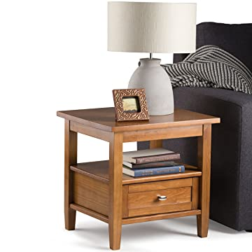 Simpli Home Warm Shaker Solid Wood End Table