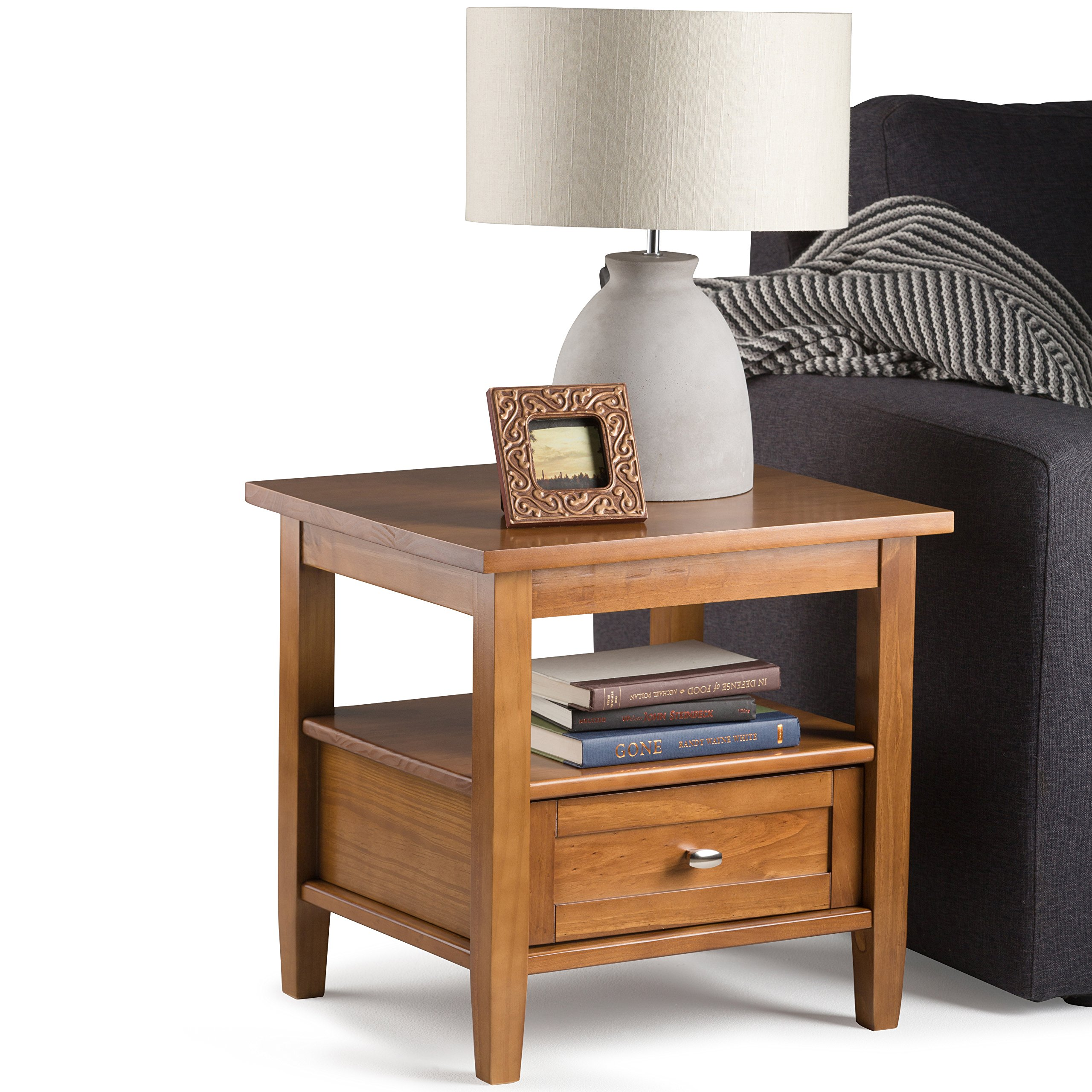 Simpli Home Warm Shaker Solid Wood End Table, Honey Brown by Simpli Home (Image #3)