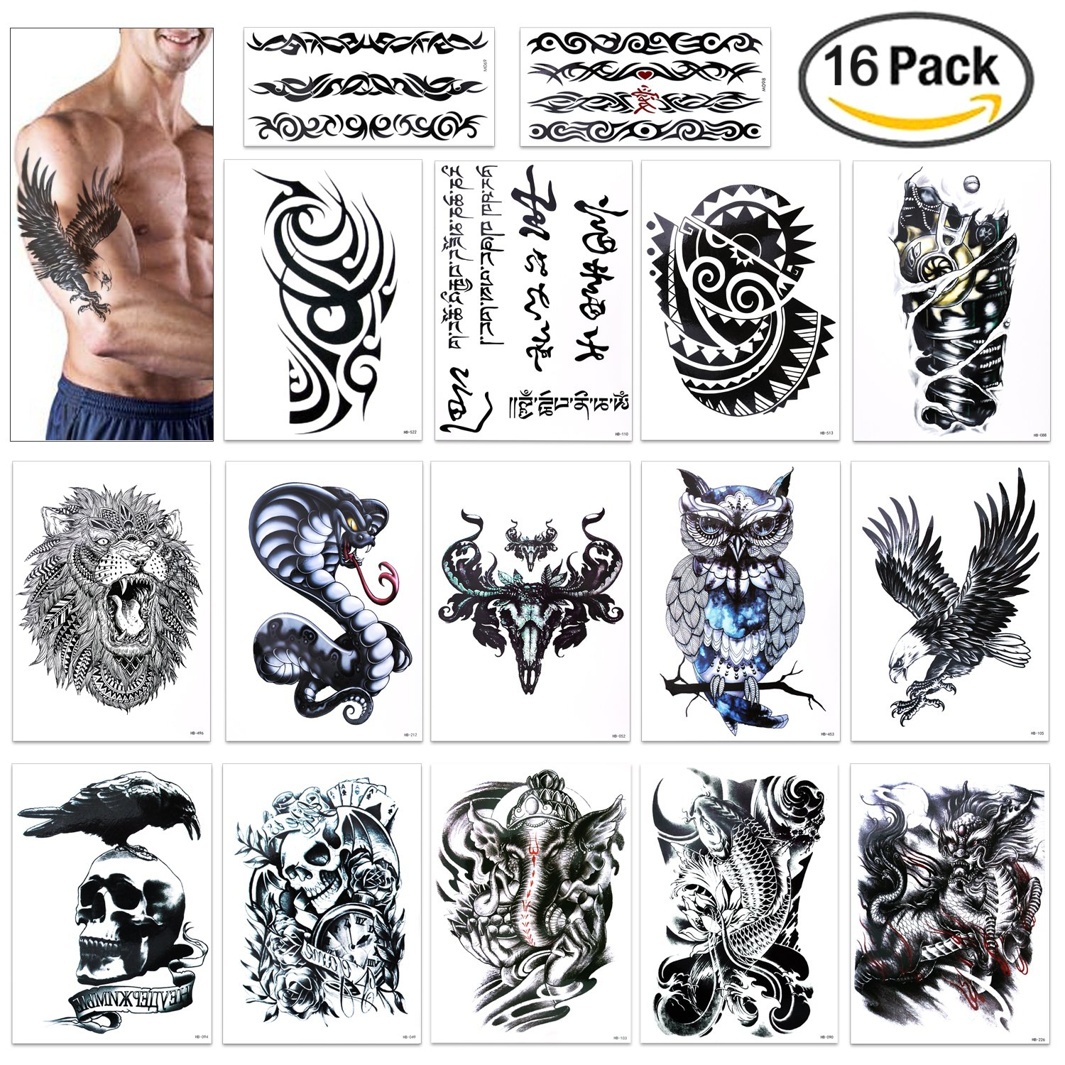 Konsait temporary tattoo for guys for man extra fake temporary tattoo black tattoo body stickers arm