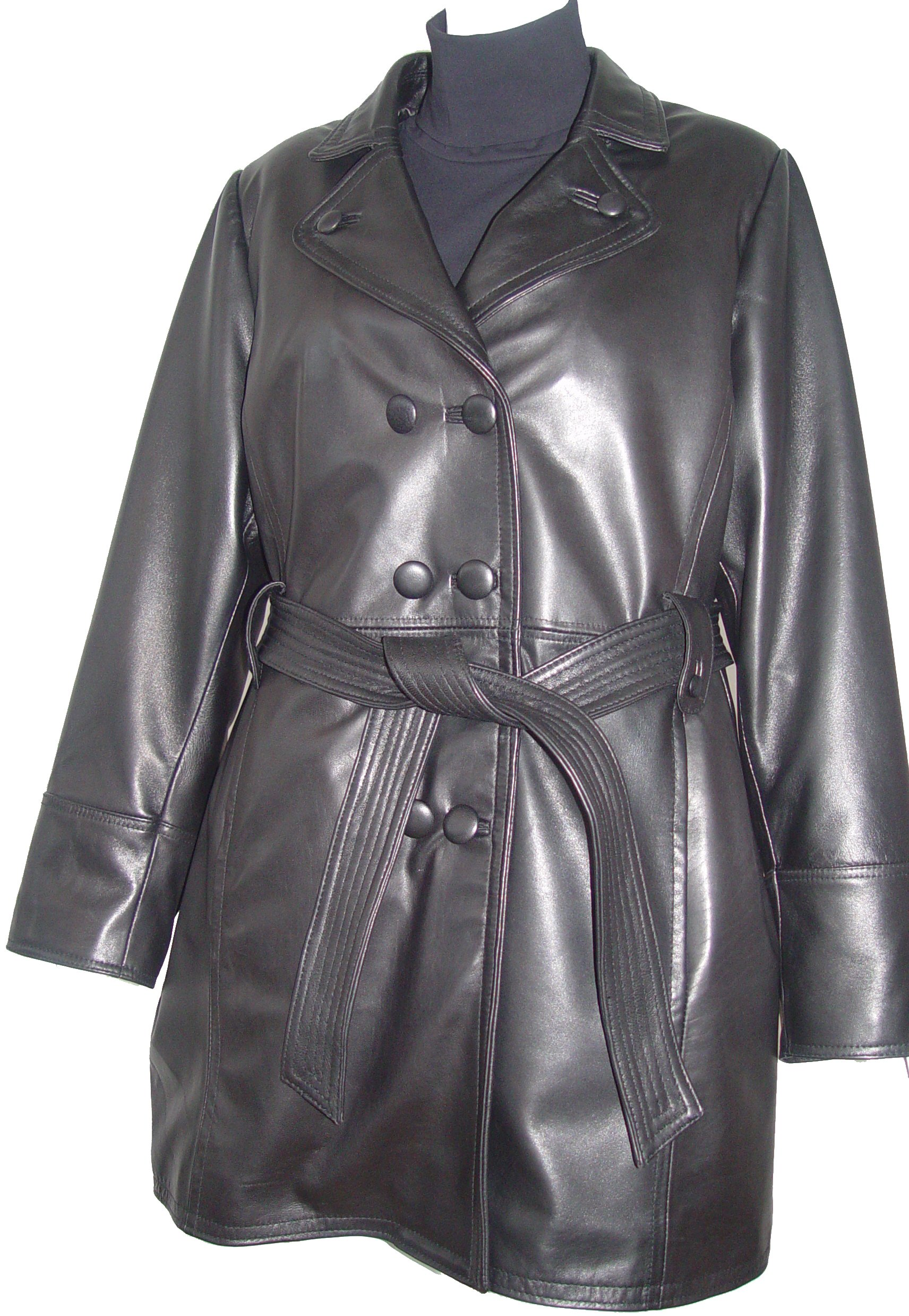 Paccilo 5006 Classic Leather Trench Coats Womens Business Clothing Soft Lamb