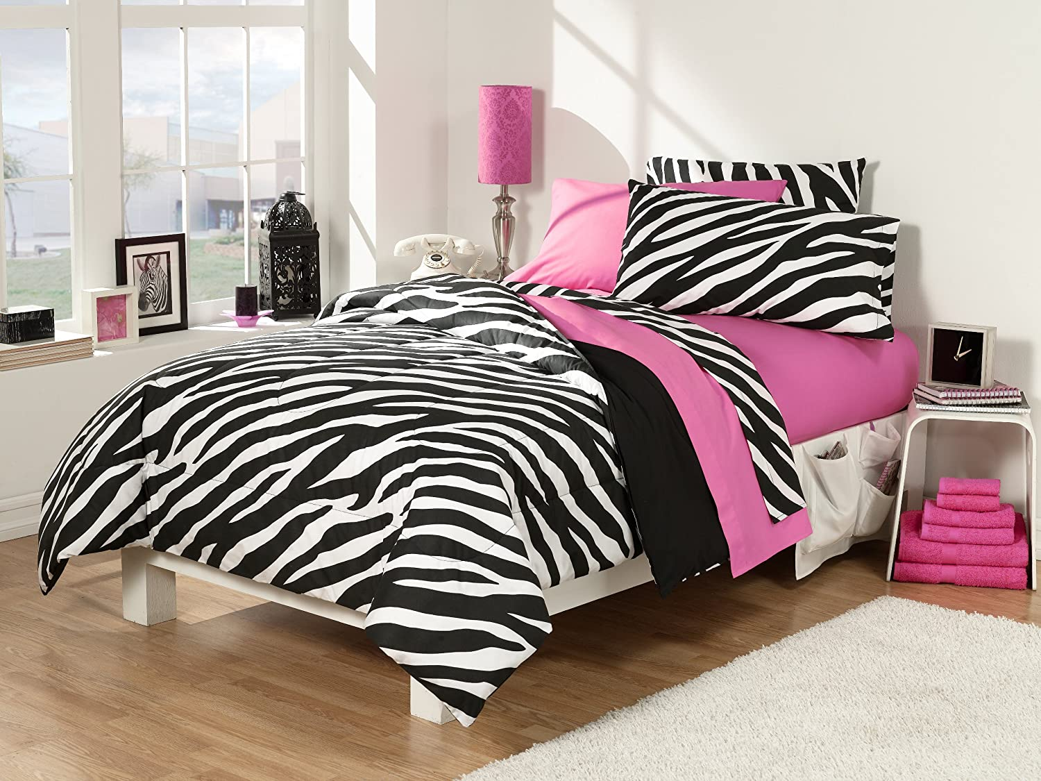 Pink and black bedding - Amazon Com Back To School 30 Piece Dorm Room Superset Twin Extra Long Zebra Pink Home Kitchen