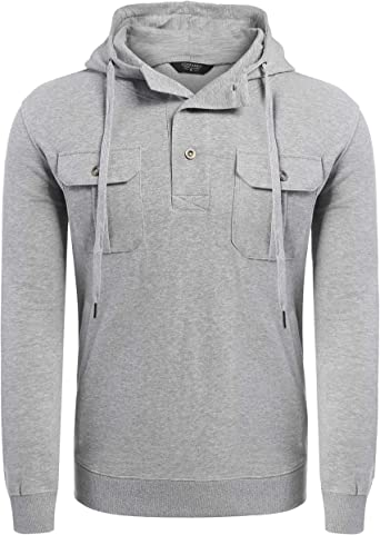 XQS Mens Hooded Cardigan Fitted Coats Patchwork Casual Zipper Up Sweatshirts