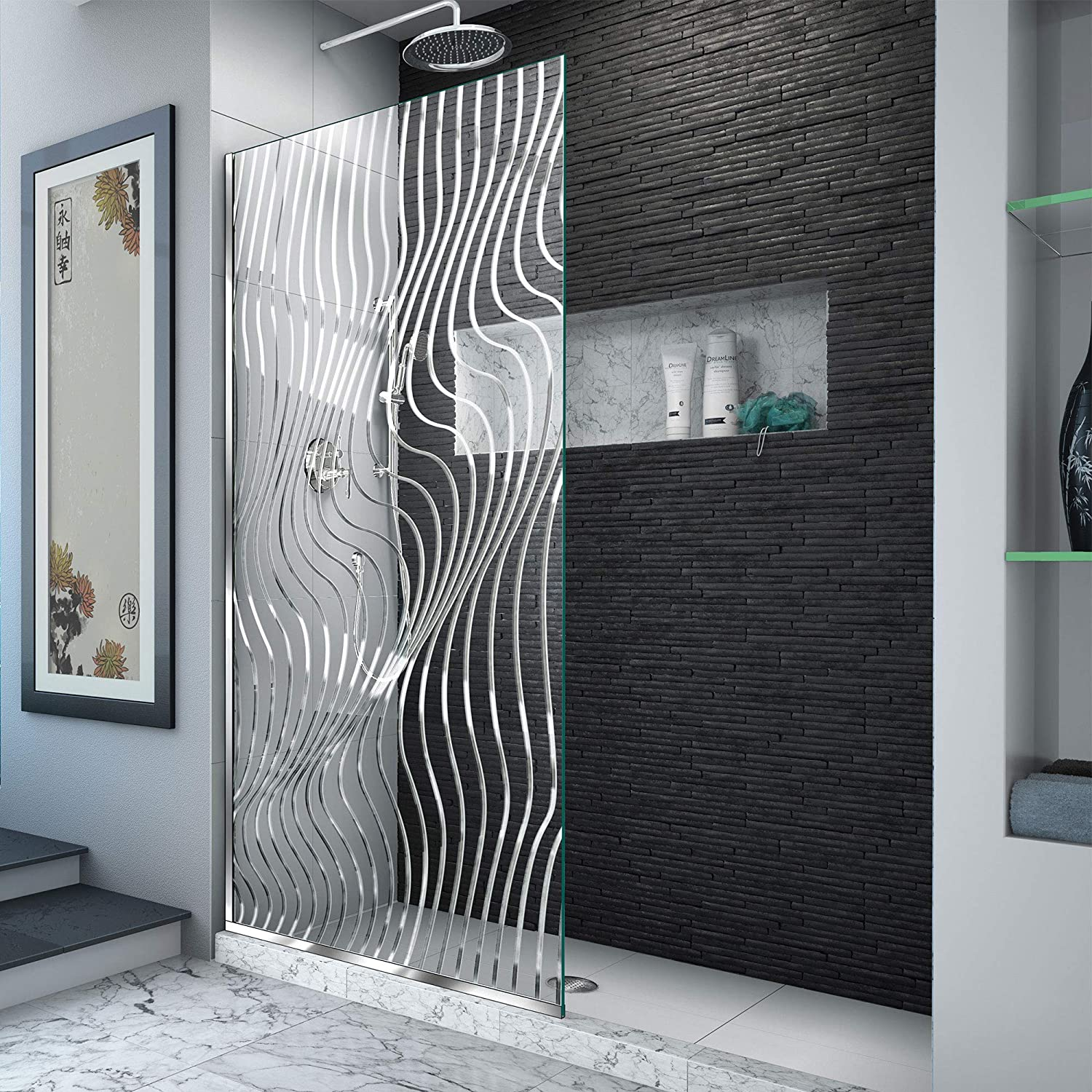 DreamLine D3234721M11-08 Platinum Linea Surf 34 in. W x 72 in. H Single Panel Frameless Shower Screen in Polished Stainless Steel