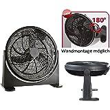 Bodenventilator   Power Windmaschine   Ventilator   Wandventilator   Standventilator   Luftkühler   180° neigbar   Wandmontage möglich   (Ø41cm 75 Watt, Schwarz)