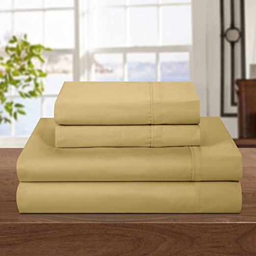 Chic Home 500Tcrich 500 Thread Count Cotton Rich 4-Piece Luxury Sheet Set King Gold Chic  Home SS0677-320-AN