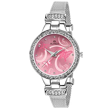 Aurex Analog Pink Dial Watch
