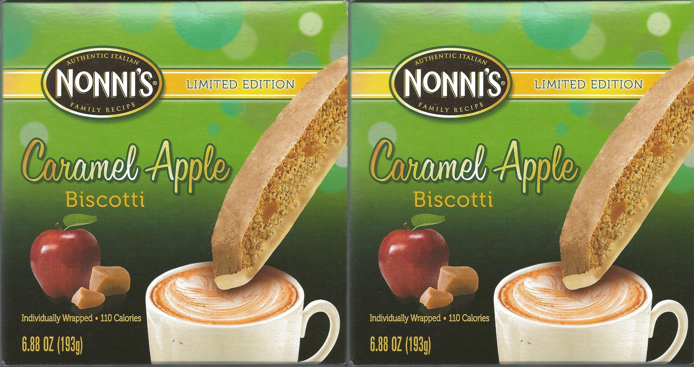 Nonnis Limited Edition Caramel Apple Biscotti Individually Wrapped (Pack of 2)