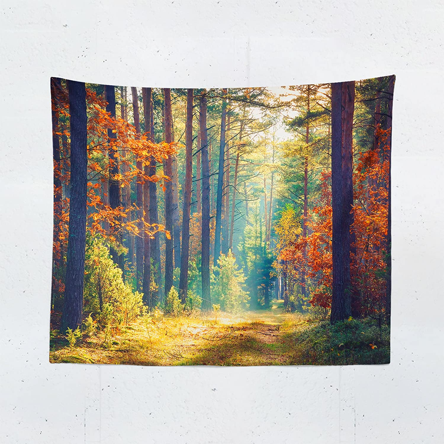 Forest Path Tapestry - Autumn Pathway Beautiful Scenic Wall Tapestries Hanging Décor Bedroom Dorm College Living Room Home Art Print Decoration Decorative - Printed in the USA