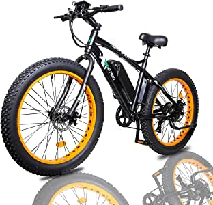 "ECOTRIC Fat Tire Electric Bike Beach Snow Bicycle 26"" 4.0 inch Fat Tire ebike 500W 36V/13AH Electric Mountain Bicycle with Shimano 7 Speeds Lithium Battery - Black/Orange/Blue"