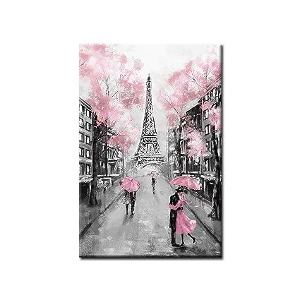 Amazon.com: Framed Vertical Canvas Wall Art Stream Lake Eiffel Tower ...
