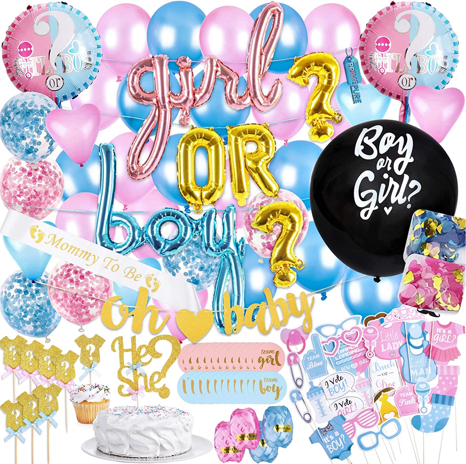 Baby Gender Reveal Party Supplies & Decorations - (111 Piece Premium Kit) Pink and Blue Balloons, 36 inch Gender Reveal Balloon, Boy or Girl Banner | Great with Smoke Bombs & Confetti Cannon