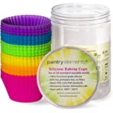 Pantry Elements Silicone Cupcake Baking Cups Liners with Bonus Storage Jar, Pack of 24 Reusable Non-Stick Muffin Liner…