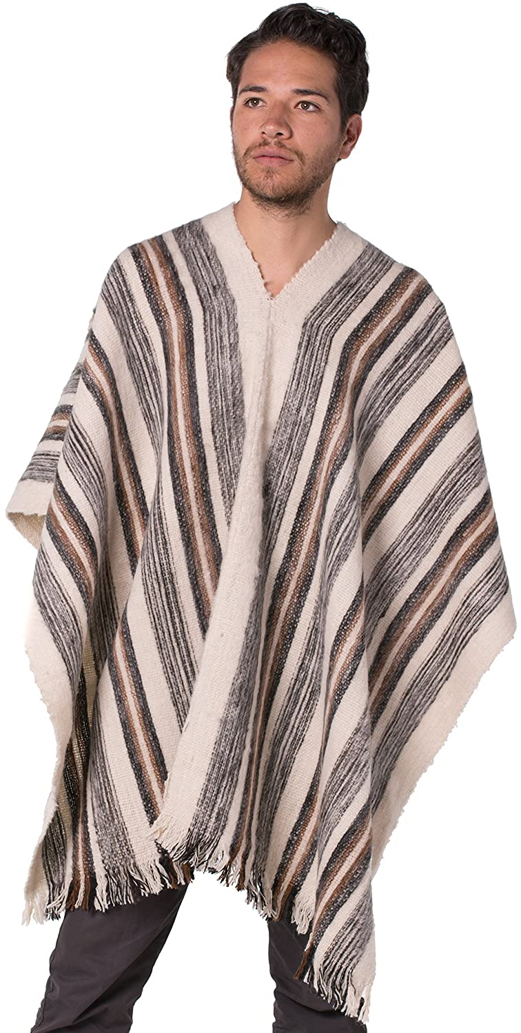 767209ef4 Amazon.com: Gamboa Warm Alpaca Poncho, Brown with white details, One Size:  Clothing