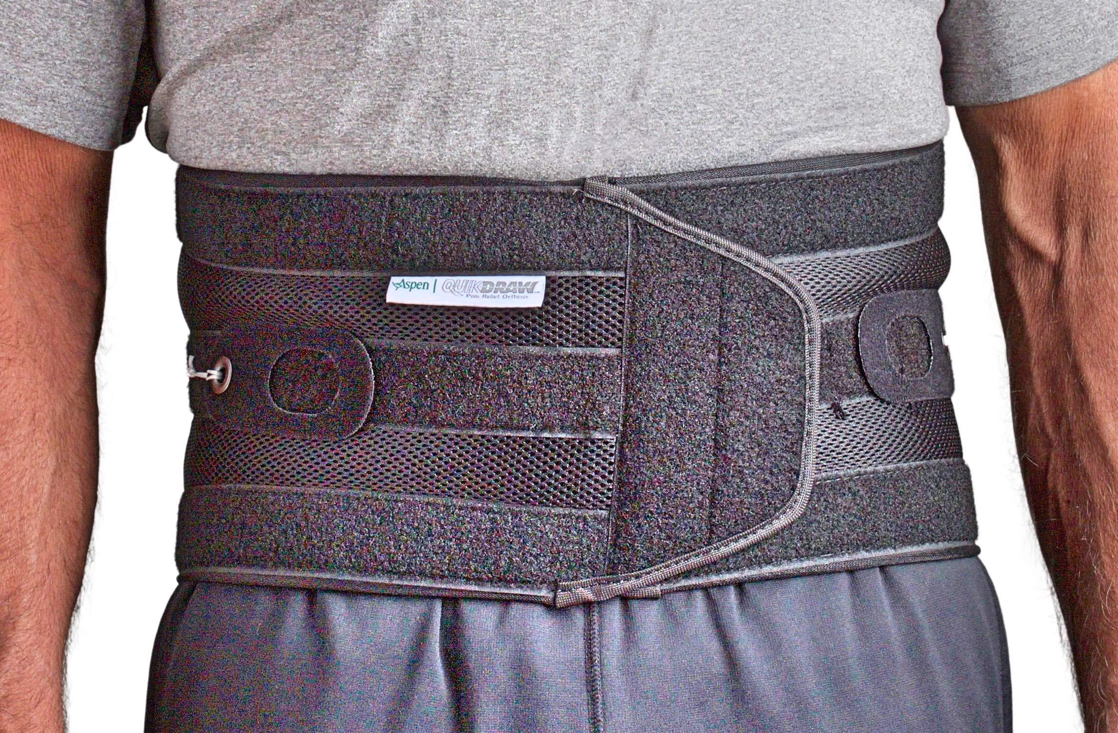 Aspen Quikdraw PRO Back Brace, Back Braces for Lower Back Pain Women & Men fits Belly (NOT Waist) Size 46''-57'', Lumbar Back Brace, Back Support Belt for Men, Lumbar Support Belt (Black, XX-Large) by Aspen Medical Products