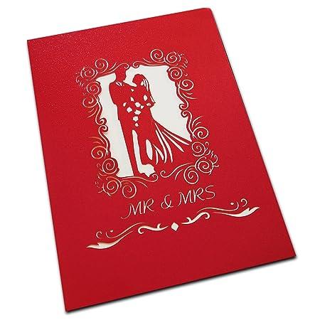 Carte de cadeau de mariage de luxe Lot de Big Taille 3d Pop Up avec Mariage Couple Porte-clés, kraft enveloppe et damour vous Kraft Autocollant Cadeau fait ...