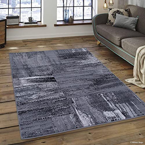 Allstar 8×10 Grey and Gainsboro Grey Modern and Contemporary Rectangular Accent Rug with Charcoal Grey Abstract Bidirectional Brush Stroke Design 7 9 x 9 8