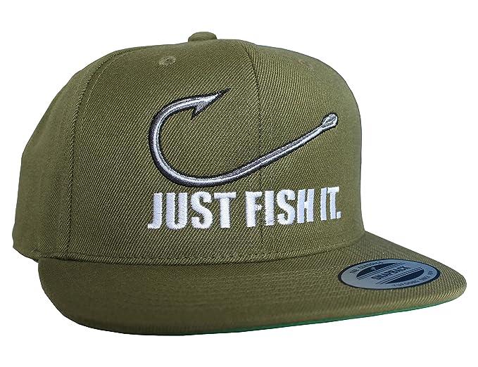 Gorra de béisbol: Just fish it - Pescado/Cap/Classic Flexfit Snapback/Basecap/Regalo-s Pescador/Gorras de hombre y mujer/Gorro-s Trabajo/Tapa/Pesca: ...